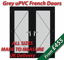 Grey uPVC French Doors - Made to Measure - Chrome handles, Silver spacer bars