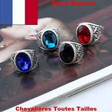 KNIGHT RING RUBY SAPPHIRE ONYX RED BLUE BLACK TURQUOISE MAN STEEL SILVER