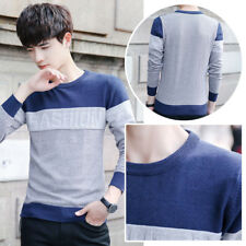 Men Pullover Mens Sweaters Slim Fit Knitting Men's Casual Sweater O-Neck Striped
