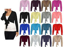 LADIES TIE UP CROP SHRUG WOMENS WRAP BOLERO SHRUG CARDIGAN TOP UK SIZES 8 - 26