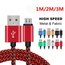 1m 2m 3m Nylon Micro USB/Type C /IOS Fast Charging Charger Data Sync Cable Cord