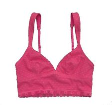 Abercrombie Fitch Womens Pink Mesh Lace Bralette Cropped Cami Tank Top Medium