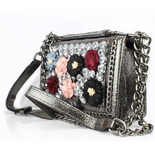 Womens Designer Inspired Quilted Small Flap Handbag Long Adjustable Chain Strap