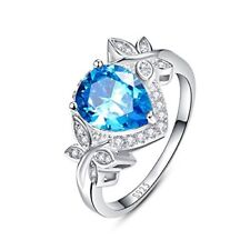 3.85ct Pear Cut Created Swiss Blue Topaz & CZ Halo Promise Engagement Ring 9254