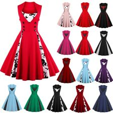 AU Plus Women Vintage Style 1950's Retro Rockabilly Evening Prom Swing Dress NEW