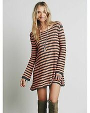NWT FREE PEOPLE COUNTING STRIPED SWING TUNIC DRESS GRAPHITE/PEA Sz XS,M