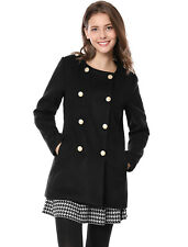 Allegra K Women Round Neck Long Sleeves Pockets Double Breasted Coat