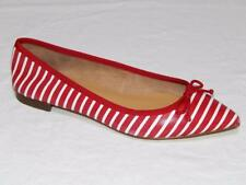 New TALBOTS Women's Red White Striped Leather Bow Tie Ballet Flats Size 6 M