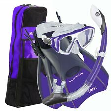 U.S. Divers Diva Snorkeling Set Silicone Mask Trek Fins Dry Top Snorkel Gear Bag