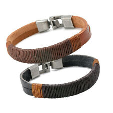 New Surfer Cuff Black Brown Men's Vintage Hemp Wrap Leather Wristband Bracelet