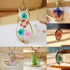 Natural Real Dried Flower Cat Butterfly Moon Glass Pendant Necklace Jewelry Gift