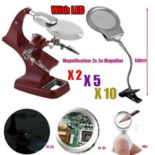 LOT Helping Hand Soldering Stand W/ LED Light Magnifier Glass Clip 2X 5X 30X EK5