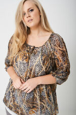 NEW WOMAN'S LADIES PLUS SIZE ANIMAL PRINT RUCHED SLEEVE SMART CASUAL TOP