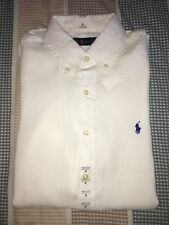 NWT mens Polo Ralph Lauren Short Sleeve button down Linen white classic  L