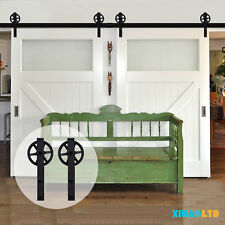 5-20FT Big Spoke Wheel  Sliding Barn Wood Door Hardware Closet Track Kit
