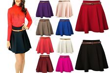 Ladies Girls Skirts Women's Belted Flared Plain Mini Skater Skirt Sizes UK 8-22.