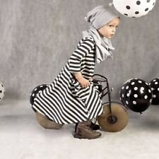 Casual  Striped Dress Children Winter Girl Clothes Clothing Black And White