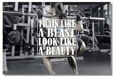 Poster Bodybuilding Men Girl Fitness Workout Quotes Motivational Font Print 016
