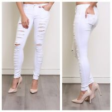 NEW WOMENS LADIES SEXY SLIM FIT STYLISH STRETCH MULTI RIPPED WHITE SKINNY JEANS
