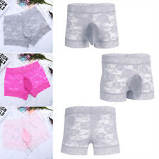 Men's Sheer Lace Boxer Briefs Shorts Sissy Panties Gay Underwear Lingerie Shorts
