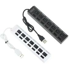 7 Ports LED USB 2.0 Adapter Hub Power on/off Switch For PC Laptop BK