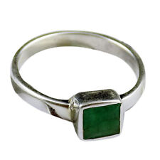 Beautiful Natural Emerald Square 5mm Gemstone Stylish 925 Sterling Silver Ring