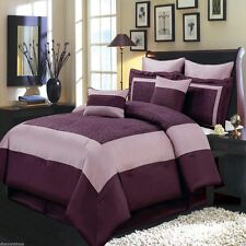 12pc Luxury Comforter Set Wendy Purple Bedding Set AND Microfiber Sheet Set
