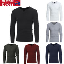 AU Mens V Neck Long Sleeve T-shirt Knitted Basic Slim Fit Muscle Tops Pullover
