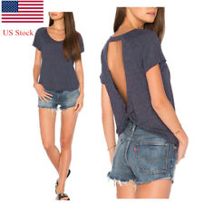 US Stock Womens New Loose Short Sleeve T Shirt Sexy Backless Blouse Knotted Top