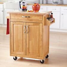 Rolling Kitchen Island Cart Natural Wood Butcher Block Counter Top Drawer New