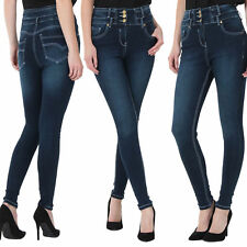 Womens Ladies High Waisted Blue Skinny Jeans Stretch Denim Jeggings Sizes 6 - 18