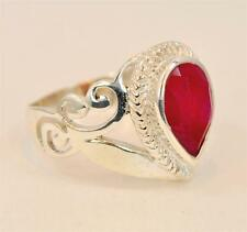 NATURAL RUBY JULY BIRTHSTONE VICTORIAN DESIGN 925 STERLING SILVER RING #0082