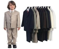 Boys Formal Suit 5 Pc Wedding First Communion Easter Baby Toddler Kids Husky 371