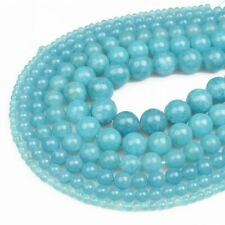 1Strand Natural Sea Blue Brazilian Aquamarine Round Loose Beads 15.5inch HH3564