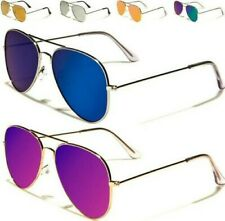 NEW FLAT LENS AVIATOR SUNGLASSES MENS LADIES WOMENS DESIGNER MIRRORED RETRO