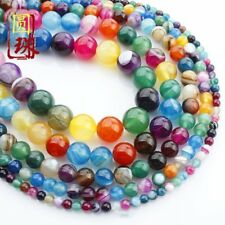 1Strand Unique Multicolor Stripes Onyx Agate Round Loose Beads 15.5inch HH3626