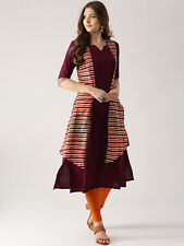 A-Line Kurta with Longline Ethnic Jacket Designer Indian Women Kurti Top Tunic