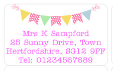 PERSONALISED ADDRESS LABELS BUNTING PINK BLUE BUSINESS HOME WORK STICKERS