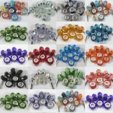 10Pcs Glass Murano Big Hole Lampwork Spacer Beads Fit European Bracelet 14x9mm