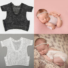 Newborn Baby Girl Boy Photography Photo Props Lace Sheer Romper Bodysuit Clothes