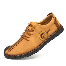 Men British Style Handmade Classic Leather Oxford Flats Suede Casual Shoes Retro