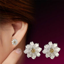 1Pair Flower Silver Plated Ear Studs Earrings Women Elegant Jewelry、2018