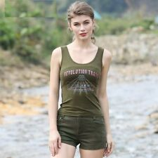 Women Sleeveless Shirt Summer Army Green Military Camouflage Appliques Tank Tops