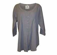 Namsar Cotton Slub Tunic Embroidered Button Down Blouse Roll Up Sleeve Lavender