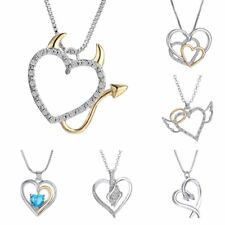 Lovely Crystal Love Devil Heart Pendant Charm Chain Necklace Family Jewelry Gift