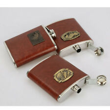 MagiDeal 8oz Brown Leather Cover FLASK Stainless Steel Hip Pocket Flask Pick