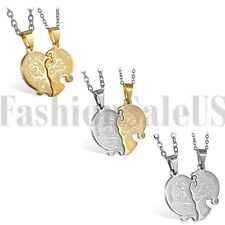 2pcs His and Hers Lovers Matching Heart Tree of Life Couple Pendant Necklace New