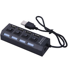 Black LED 4 Port USB2.0 Hub High Speed Power On/Off Button Switch for Laptop PC