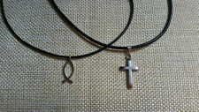 Christian/Religious chokers.. CHRISTIAN FISH CROSS.. with free gift bag!