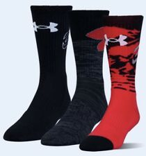 UNDER ARMOUR SC30 Phenom Curry BLACK White Red Basketball Crew Socks Mens M 4-8